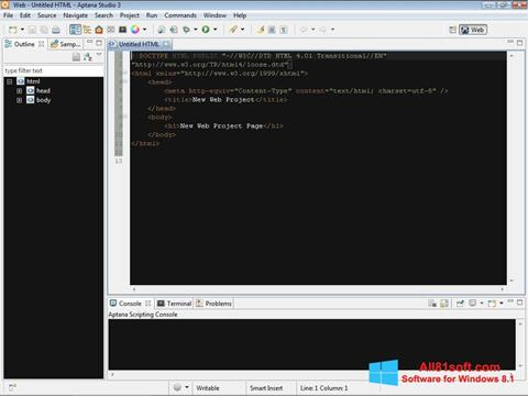 Screenshot Aptana Studio Windows 8.1