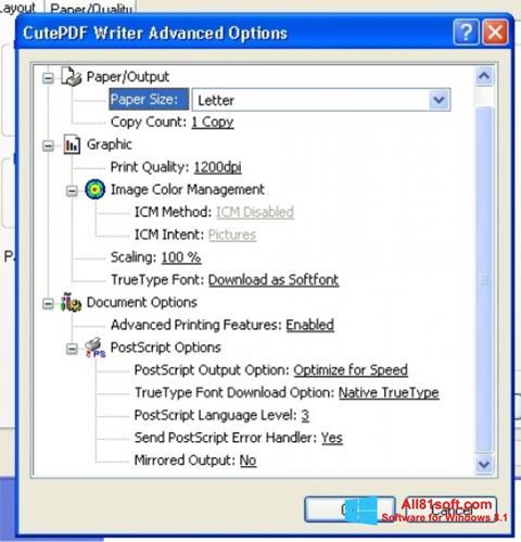 Screenshot CutePDF Writer Windows 8.1
