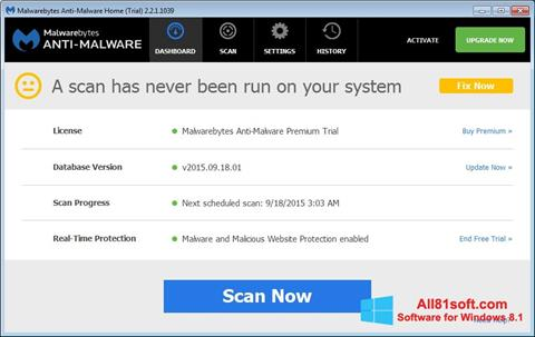 Screenshot Malwarebytes Anti-Malware Free Windows 8.1