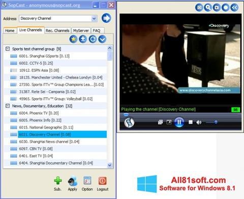 Screenshot SopCast Windows 8.1