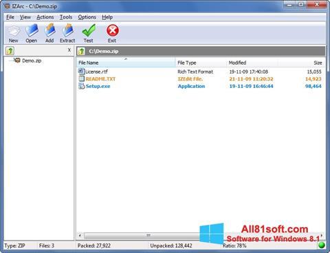 Screenshot IZArc Windows 8.1