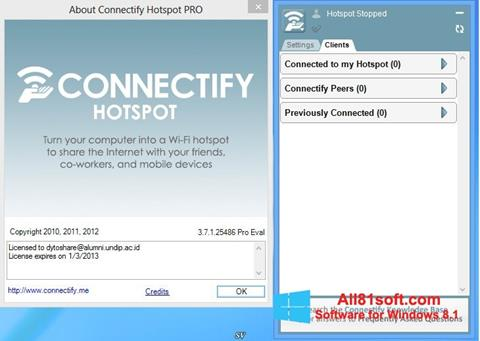 Screenshot Connectify Hotspot Windows 8.1