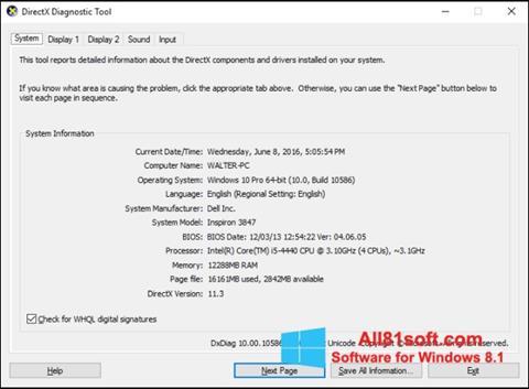Screenshot DirectX Windows 8.1
