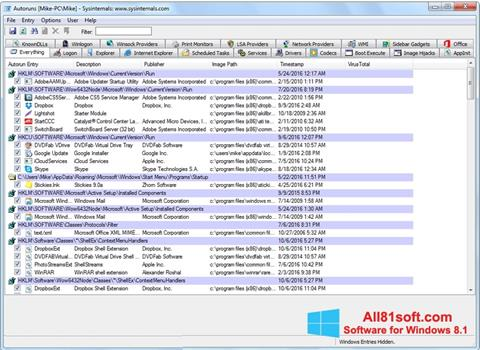 Screenshot AutoRuns Windows 8.1