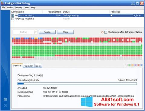 Screenshot Auslogics Disk Defrag Windows 8.1