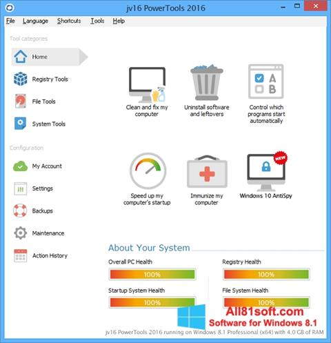 Screenshot jv16 PowerTools Windows 8.1